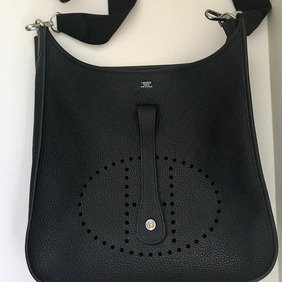 4c365f31395f Hermes Evelyne III GM (33) Black Clemence Leather